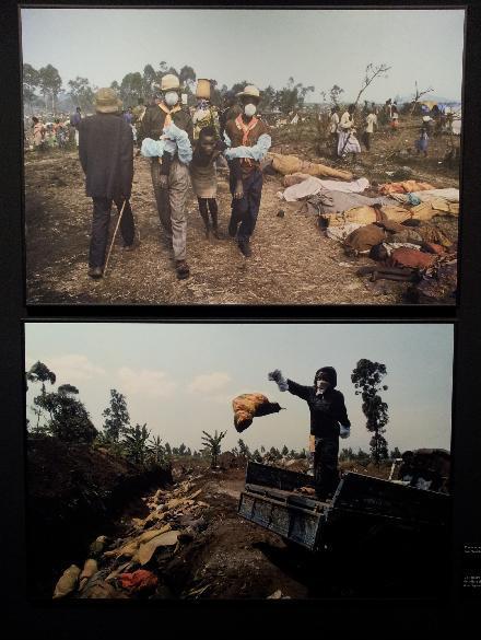 Traslado de un enfermo de cólera / Un hombre lanza el cuerpo de un niño víctima del cólera al fondo de una fosa común. Goma (República Democrática del Congo), julio de 1994.